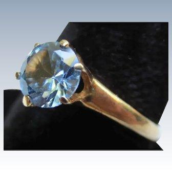 Vintage Blue Zircon Solitaire 10K Gold Ring