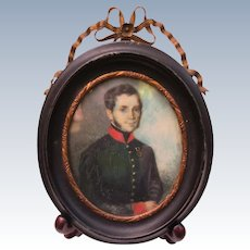 Antique 1820's Portrait Painting of Military Officer In Uniform