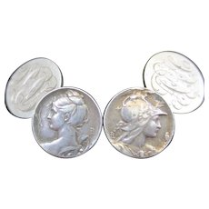 Antique French Art Nouveau Silver Cufflinks Portrait of Ladies