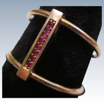 Designer Diamond & Ruby Reversible 14k Rose Gold Ring