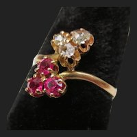 Victorian 14K Gold Rose Cut Diamond & Ruby Clover Leaf Ring