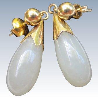 Elegant 14k Gold Fine White Jade Drop Earrings