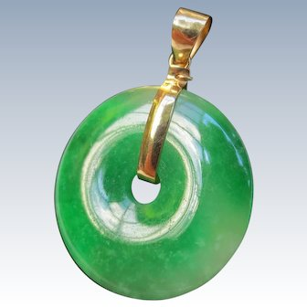 Fine Imperial Jade 18k Gold Bi Disk Jadeite Pendant
