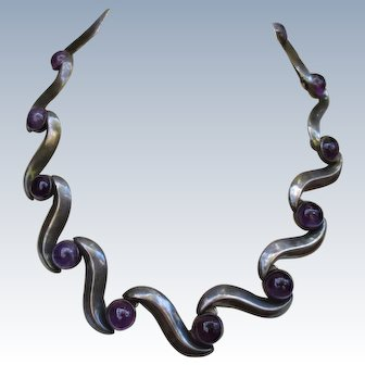 Beautiful 1940's Amethyst Mexican Silver Collar Necklace