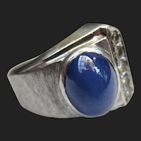 Unique Vintage 14K White Gold Star Sapphire & Diamond Modernist Ring