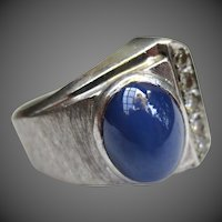 Unique Vintage 14K White Gold Star Sapphire & Diamond Modernist Ring