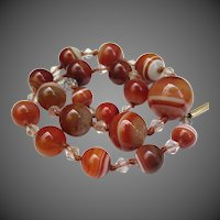 Beautiful Scottish Banded Agate & Rock Crystal Victorian Necklace