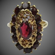 Lovely Antique 18k Yellow Gold Garnet Halo Cocktail Ring