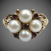 Lovely Vintage English Pearl & Garnet 9K Gold Ring