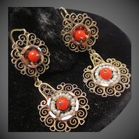 Victorian Etruscan Revival 14K Gold Coral & Pearl Wedding Day and Night Earrings