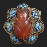 Lovely Chinese Silver Lotus Flower Enamel Brooch Carved Carnelian Girl Figure