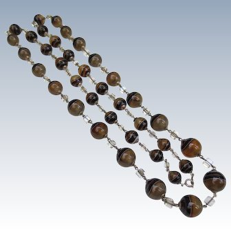 Gorgeous Edwardian Scottish Banded Agate & Rock Crystal Silver Necklace