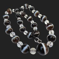 Elegant Edwardian Bullseye Scottish Banded Agate & Crystal Necklace