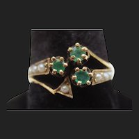 Charming Victorian 14K Gold Emerald & Pearl Clover Leaf Ring