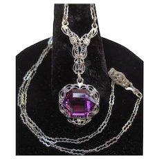 Pretty Art Deco Sterling Silver Amethyst Heart Necklace