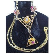 Edwardian 14K Gold Diamond & Ruby Lavalier Flower Necklace