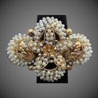 Exquisite Georgian 14K Gold Seed Pearl Wedding Brooch