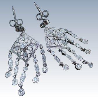 Elegant Deco 18K White Gold Diamond Chandelier Earrings