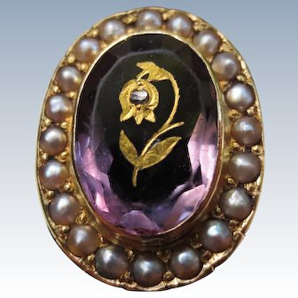 Victorian 14K Gold Amethyst & Pearl Halo Ring