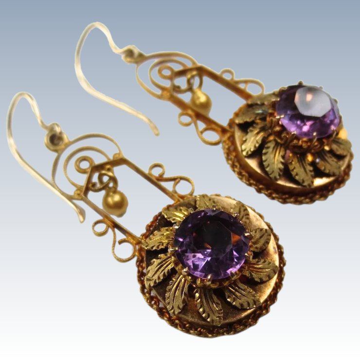 Regal Etruscan Revival Victorian 14k Gold Amethyst Earrings