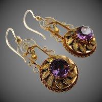 Regal Etruscan Revival Victorian 14K Gold Amethyst Earrings