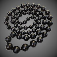 Scottish Victorian Bullseye Banded Agate Bead Necklace 36""