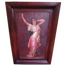 Antique Orientalist Portrait Oil Painting of Beautiful Harem Lady