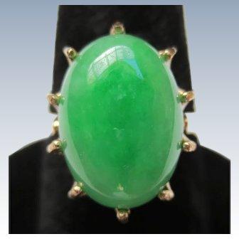 Fine Jadeite Jade 14K Rose Gold Vintage Ring