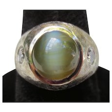 Superb Chrysoberyl Cat's Eye & Diamond 14K White Gold 1940's Vintage Ring