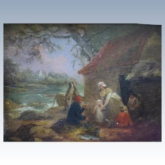 18th Century 1790's George Morland Landscape Oil Painting Of A Gypsy Camp