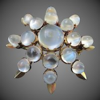 Magical Moonstone Antique Silver Starburst Brooch / Pendant