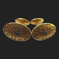 Fine Victorian 14K Gold Antique Sapphire Cufflinks