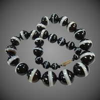 Scottish Bullseye Banded Agate Necklace Antique Bead Strand