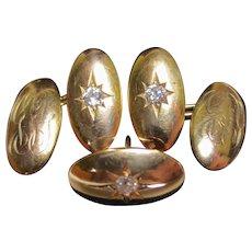 Victorian Old European Cut Diamond 14K Gold Cufflink Set