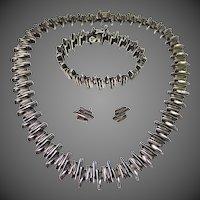 Vintage Brutalist Sterling Silver Necklace Bracelet & Earring Set