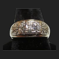 Art Deco 14K White Gold & Old European Cut Diamond Wedding / Engagement Ring