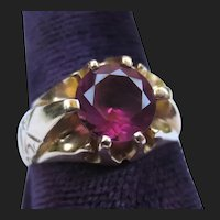 Antique 14K Gold Belcher Set Pink Tourmaline Solitaire Ring