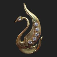 "Unique 18K Gold & Diamond Bird Pendant ""Modern Swan"" by G. Appleby"