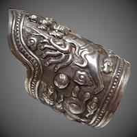 Impressive Chinese Silver Large Antique Cuff Bracelet Deity & Qilin
