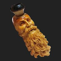 Amazing Antique Meerschaum Pipe of Bearded Turk Gentleman Genova 1870