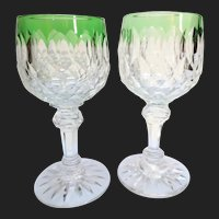 Baccarat Juvisy Rare Colored Antique Cut Crystal Wine Glass Stems