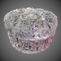 American Brilliant Period Hawkes Cut Glass Powder Dresser Jar ABP Antique Crystal