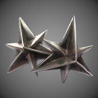 Fabulous William Spratling Mexican Silver Star Earrings Taxco