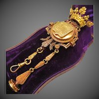 Royal French 18k Gold Etruscan Revival Crown Chatelaine with Family Crest Signet