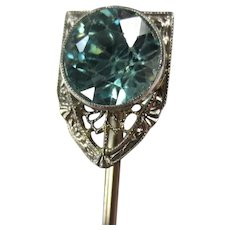 Fine Art Deco 14K White Gold Blue Zircon Stickpin Brooch