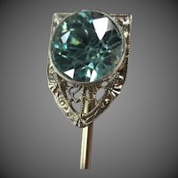 Fine Krementz Art Deco 14K White Gold Blue Zircon Stickpin Brooch