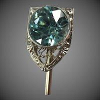 Fine Krementz Art Deco 14K White Gold Blue Zircon Stickpin Brooch