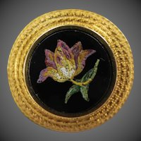 Etruscan Revival Micro Mosaic Tulip Flower 14K Gold Victorian Brooch