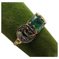 Art Deco 14K Gold Antique Emerald Ring