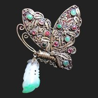 Beautiful Vintage Butterfly Jade & Tourmaline Chinese Silver Brooch